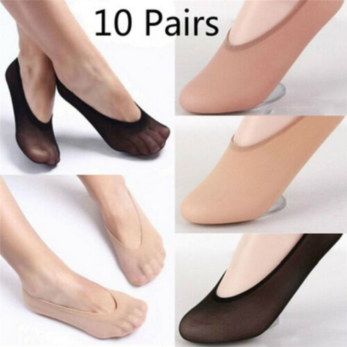 10Pairs Women Invisible No Show Nonslip Loafer Boat Liner Low Cut Cotton SoB Dt