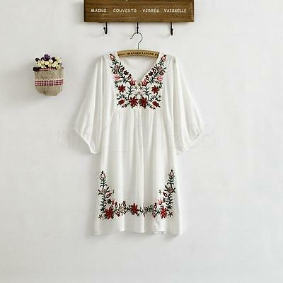 Hot Women Ethnic Mexican Floral Boho Peasant Dress Lady Materity Pregnant Dress! 2