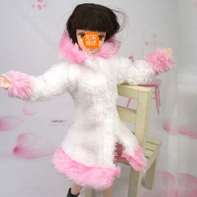 Kid Playhouse Toy Doll Accessories Winter Wear Pink Coat Clothes For 1/6 Doll 3