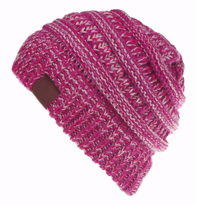 Women's Ponytail Beanie Ribbed Winter Messy Bun Cable Warm Soft Knit Hat AU 8