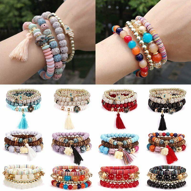 Boho Multilayer Natural Stone Bead Tassel Pendant Chain Bracelet Charm Women Set 9