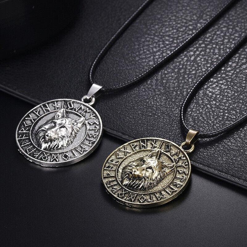 Der Wolf-Tierkopf-hängende Halsketten-Wikinger-Amulett-Geschenk-Schmuck MFT