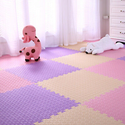 4 Tiles Home Yoga Gym Fitness Interlock EVA Foam Floor Mat Puzzle Baby Kids Play 9