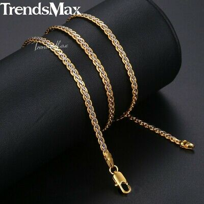 Silver & Gold Braided Wheat Link Gold Filled Necklace Womens Mens Chain Unisex 2