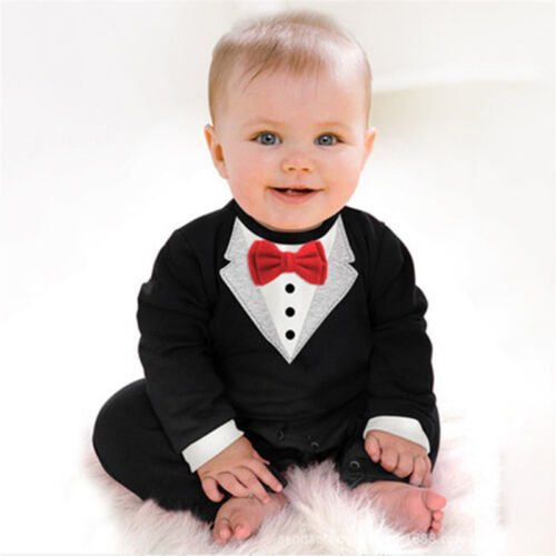 5d48e41de6a Baby Boy Formal Suit Party Wedding Tuxedo Gentleman Romper Jumpsuit Outfit  3 3 of 3 See More
