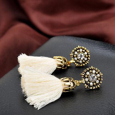 Women Thread Long Tassel Earrings Rhinestone Drop Statement Fringe Earrings 12