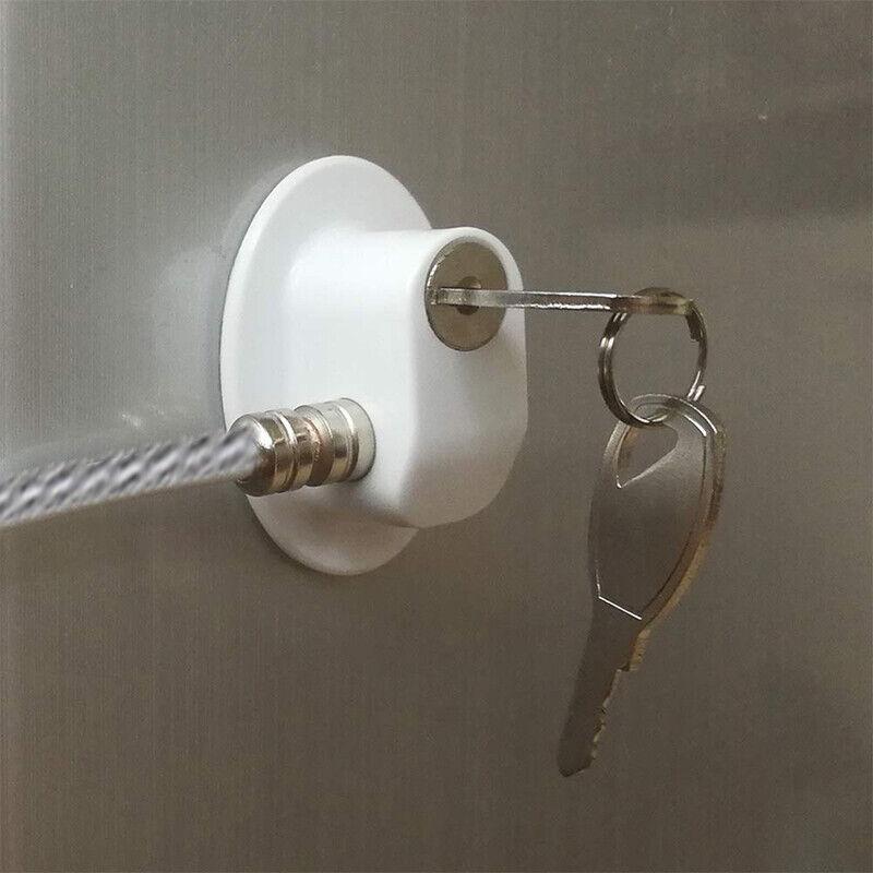 White Refrigerator Locks Freezer Cabinet Lock Strong Cable Security Door Lock H 9