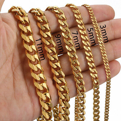 Men 3/5/7/9/11mm 18-36 inch Gold Cuban Link Chain Necklaces Stainless Steel 2