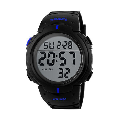 Men's Digital Sports Watch LED Screen Large Face Military Waterproof Watches 5
