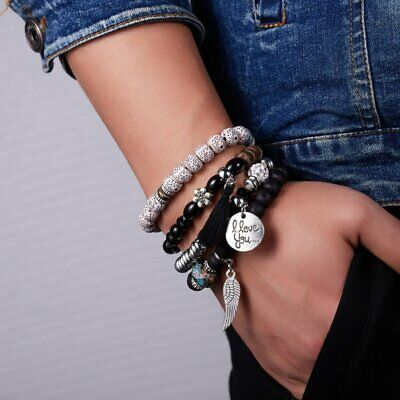 Women Boho Multi-layer Crystal Beaded Beads Bohemia Cuff Bracelets Set Bangle 7