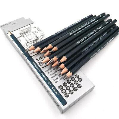 14*Sketch Art Drawing Pencil Sets 12B 10B 8B 7B 6B 5B 4B 3B 2B 1B HB 2H 4H 6H UK 4