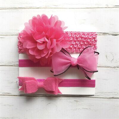 3pcs Set Newborn Baby Girls Floral Headband Ribbon Elastic Strap Hair Band Sets 4