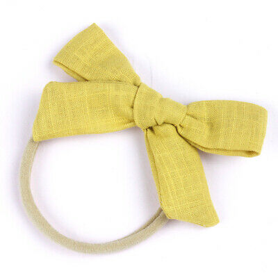 Kids Baby Toddler Cotton Linen Nylon Bow Headband Solid Hairband Hair Ring #N 4