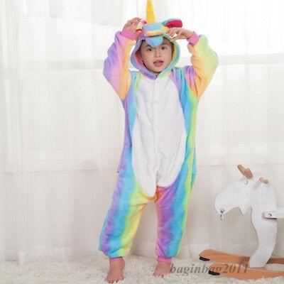 Kids Boy/Girls Rainbow Unicorn Kigurumi Animal Cosplay Pajamas Costume Sleepwear 9