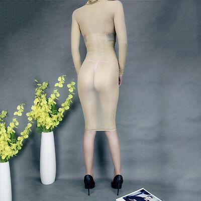 Women Glossy Oil Shiny Bodystocking See Through Sheer Bodysuit Tights Bodyhose 5