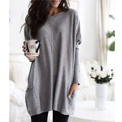 Women Long Sleeve Pocket Autumn Tunic Tops Loose Casual Blouse T-Shirt Plus Size 10