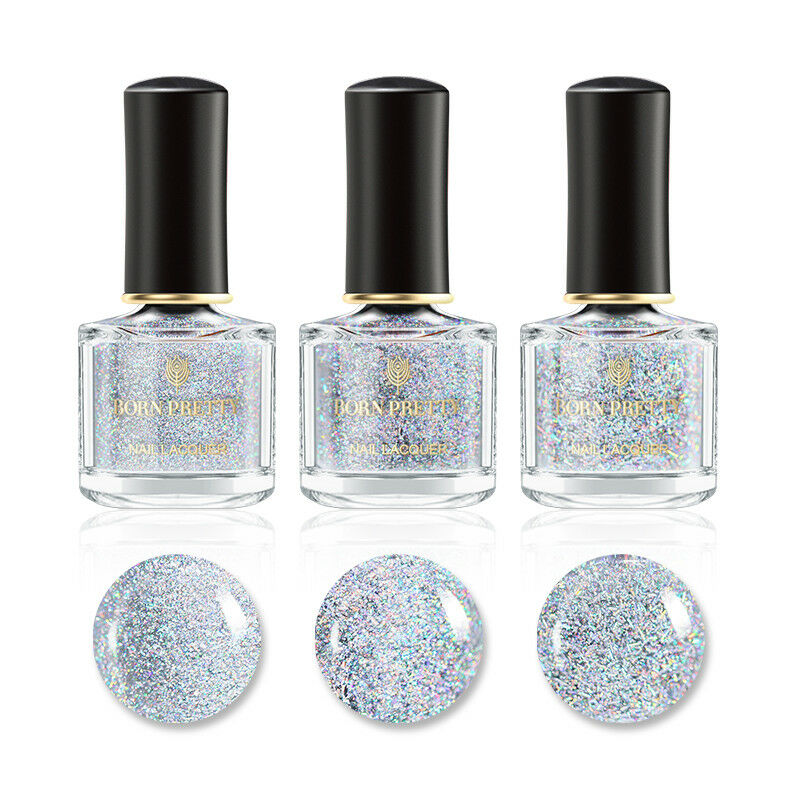 BORN PRETTY 6ml Sequined Holographic Top Coat Nail Polish Glitter Clear 12