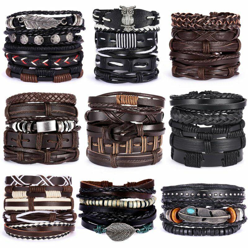 5/6pcs Fashion Mens Punk Leather Wrap Braided Wristband Cuff Bangle Bracelet New 3