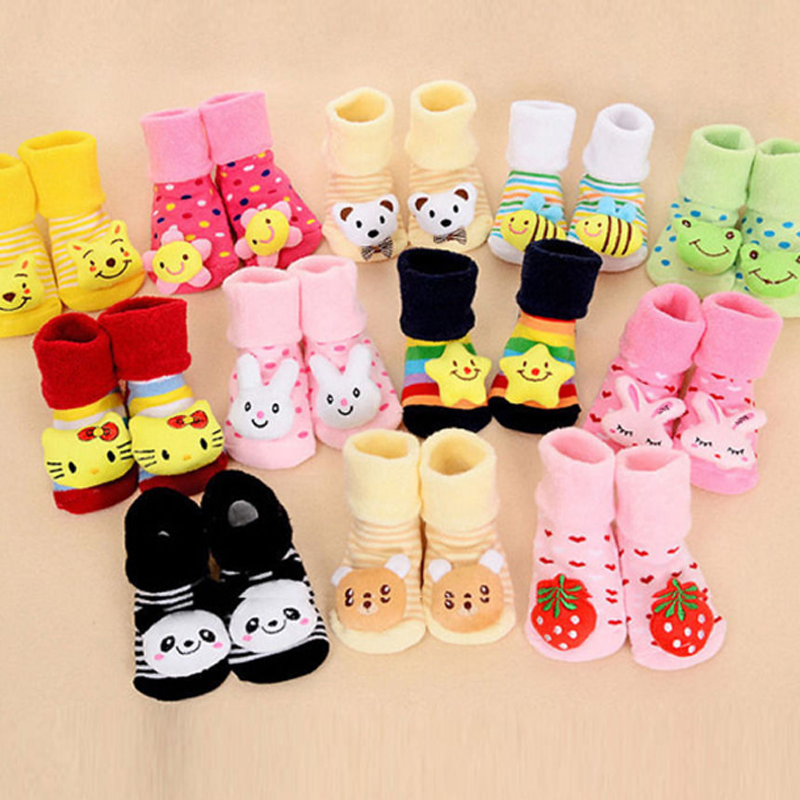 0-12 Monate Baby Jungen Socken Karikatur neugeborener Pantoffel Stiefelette Neu 6
