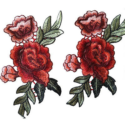 2Pcs / Set Rose Flower Patches Flowers Embroidered Applique Patches Sew on