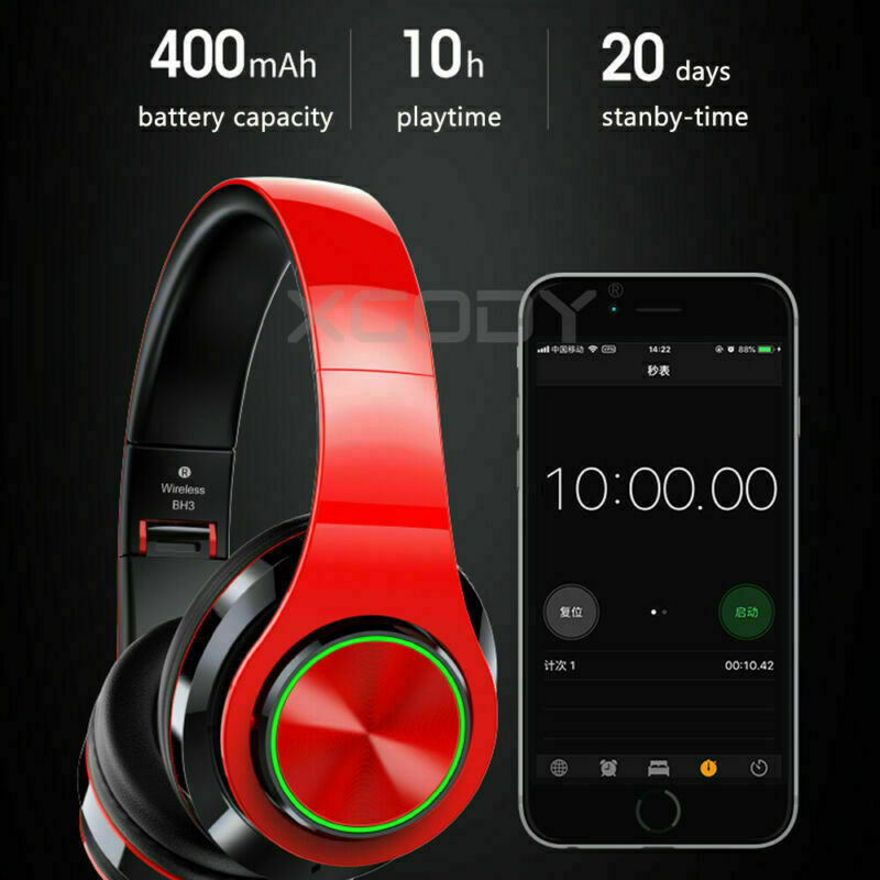Wireless Headphones Stereo Bluetooth Headset Noise Cancelling Over Ear With Mic 7