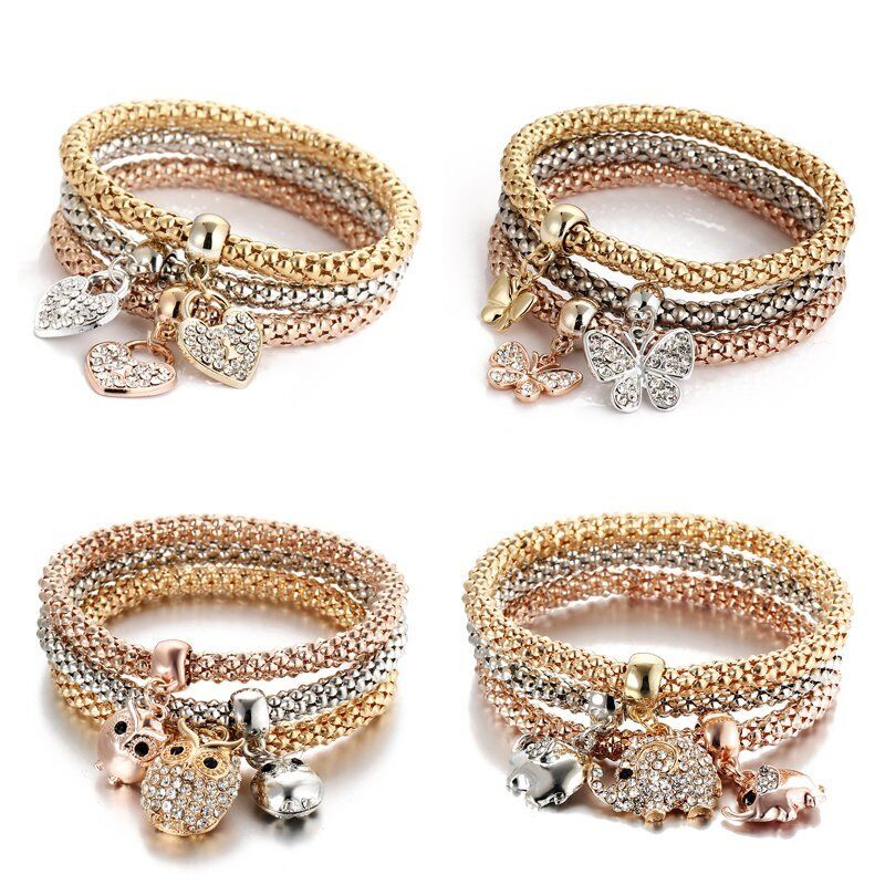 Women Girls 3Pcs/Set Gold Silver Rose Gold Bracelets Rhinestone Bangle Jewelry 3