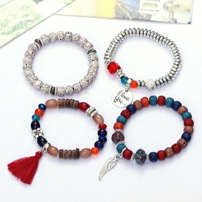 4Pcs I Love You Multilayer Natural Stone Crystal Bangle Beaded Bracelet Jewelry 7