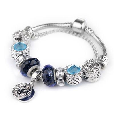 Women's European Charm Bracelet Silver Plated Crystal Charms Cuff Bangle 20CM 5