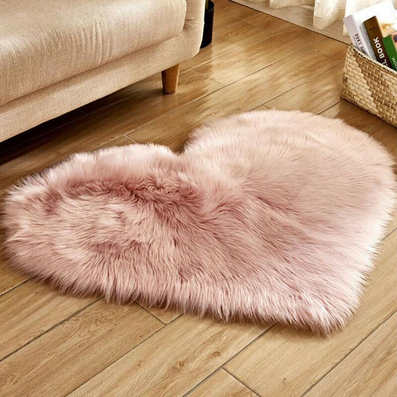 Heart Shaped Fluffy Rugs Anti-Skid Shaggy Area Rug Carpet Home Bedroom Floor Mat 6