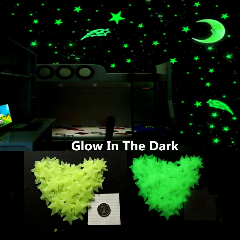 100Pcs Stars and Moon Glow In The Dark Wall Stickers Kid Bedroom Ceiling Decor 4