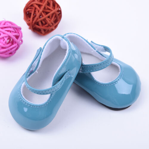Handmade Blue Leather Boots Shoes for 18inch Doll Party Kids Toy 2