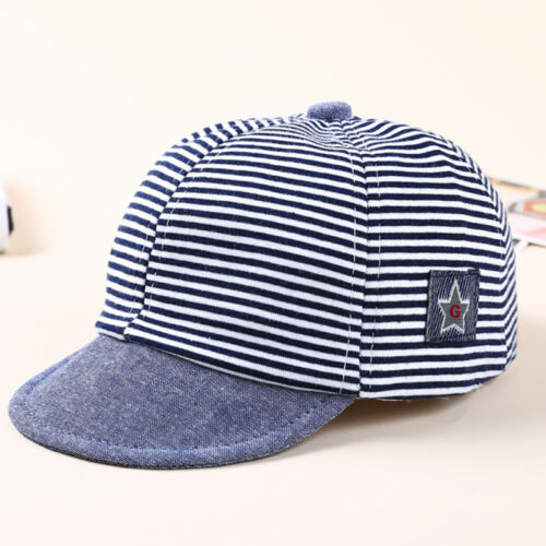 Baby Unisex Boy Girls Summer Cotton Hats Striped Baseball Cap Beret Sun Hat GO9