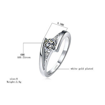 Classic 925 Silver Round Cut White Sapphire Engagement Ring Bridal Jewelry Gifts 3