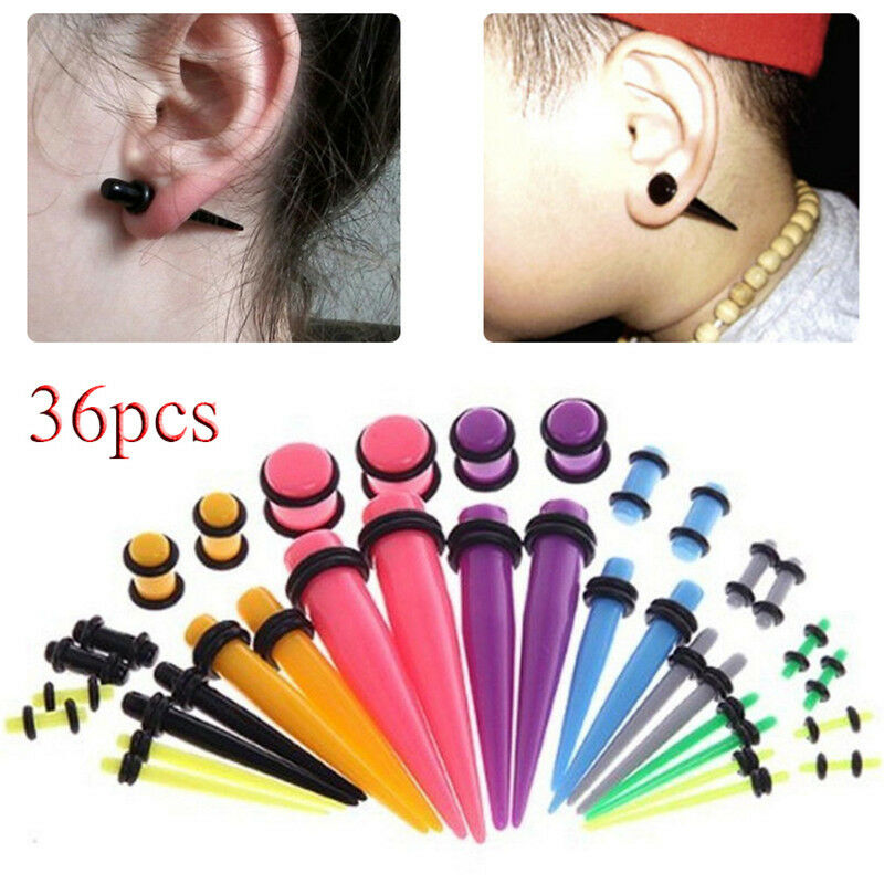 1 of 9FREE Shipping 36pcs Acrylic Ear Gauge Taper Tunnel Plug Expander Stretching Piercing Kit Sets