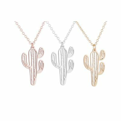 Fashion Stainless Steel Cactus Pendant Hollow Chain Necklace Charm Women Jewelry