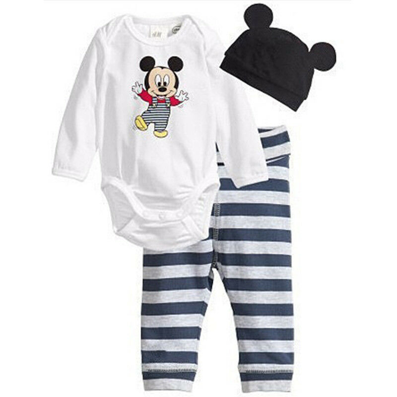 3Pcs Baby Kids Boys Girls Mickey Mouse Romper Pants Bodysuit Clothes Outfit Set 4