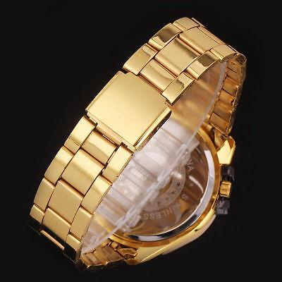 Luxury Mens Black Dial Gold Stainless Steel Date Quartz Analog Sport Wrist Watch 12