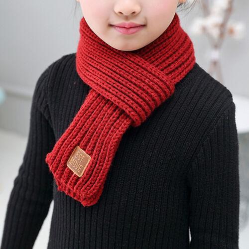 Kids Winter Knitted Scarf Warm Boys Girls Crochet Scarves Children Neckerchief M