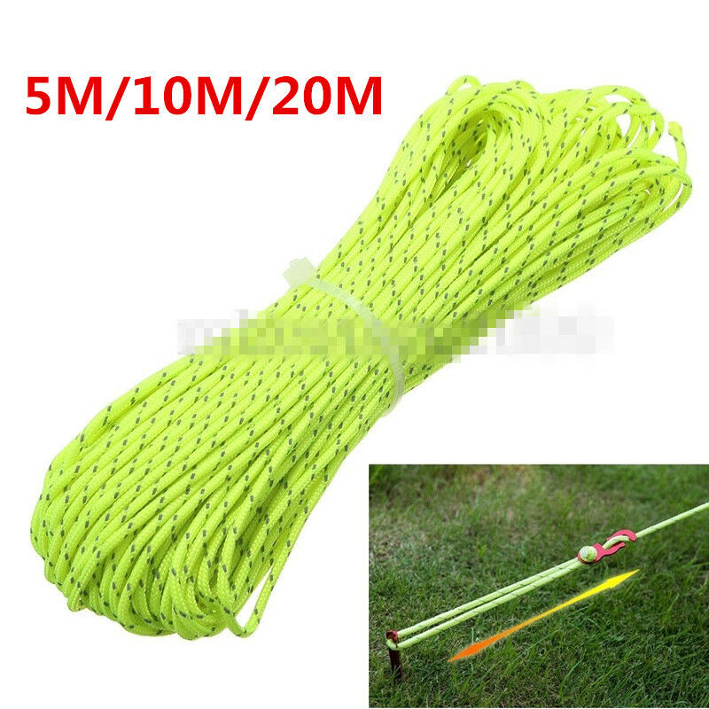 2.5MM Reflective Guyline Camping Tarp Tent Rope Line Cord Paracord 5M/10M/20M 2