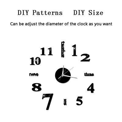 Modern DIY 3D Large Number Wall Clock Mirror Sticker Decor Home Office Kids Room 6