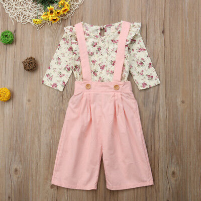 2PCS Toddler Kids Baby Girl Winter Clothes Floral Tops+Pants Overall Outfits AU 11