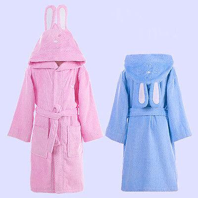 Hot Girls Bath Robe Cute Rabbit Ear Hooded Children Sleepwear Absorbent Homewear 2