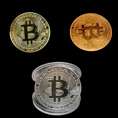 3PCS Bitcoin Commemorative Round Collectors Coin Bit Coin is Gold Plated Coins 2