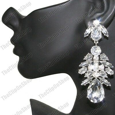 4 Of 8 Clip On Chandelier Earrings Rhinestone Crystal Vintage Chic Large Clips