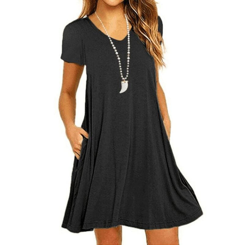bc9d1a3f27f24d Damen Strand Minikleid Sommerkleid Kurzarm Swing Kleider Tunika Longshirt  Top 5 5 von 11 ...