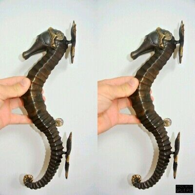 """2 seahorse DOOR PULLS 30cm natural aged brass vintage style house handle 12""""B 4"""
