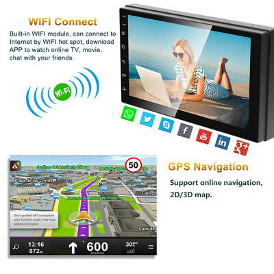 """Android 8.1 Car Stereo GPS Navigation Radio Player Double Din WIFI 7"""" 5"""