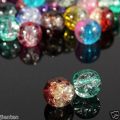 Hot Glass Mixed Round Crackle Crystal Charms Beads Jewelry Making 4/6/8/10/12mm 2