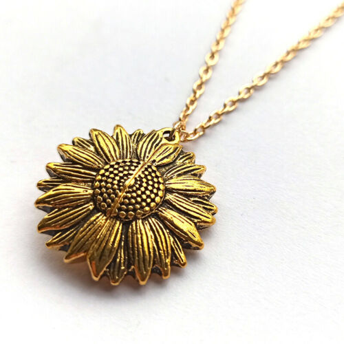 You are my sunshine Open Locket Sunflower Pendant Chain Necklace Jewelry Gift US 6