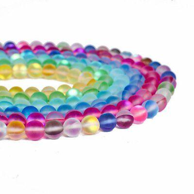 Wholesale Mystic Aura Quartz Gemstone Loose Beads Holographic Matte Bracelet 6mm 10